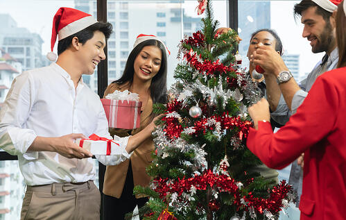 employees at christmas